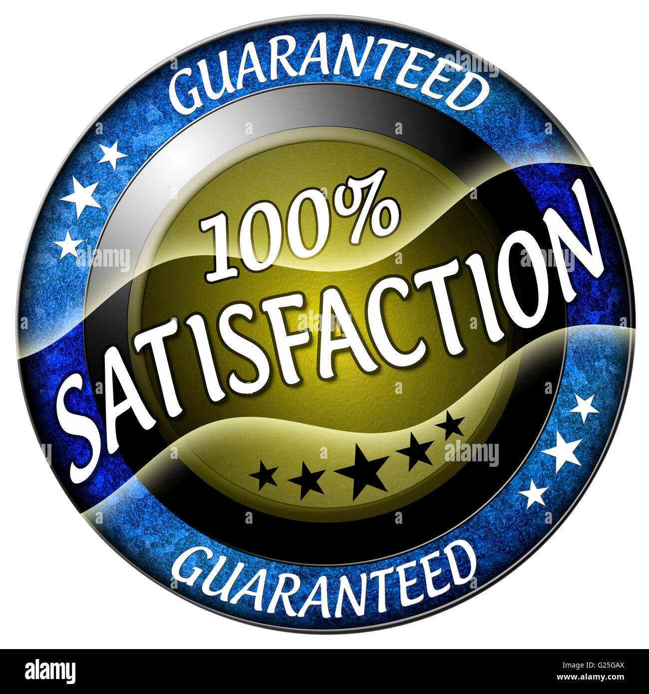 100 satisfaction round red icon isolated - Stock Image
