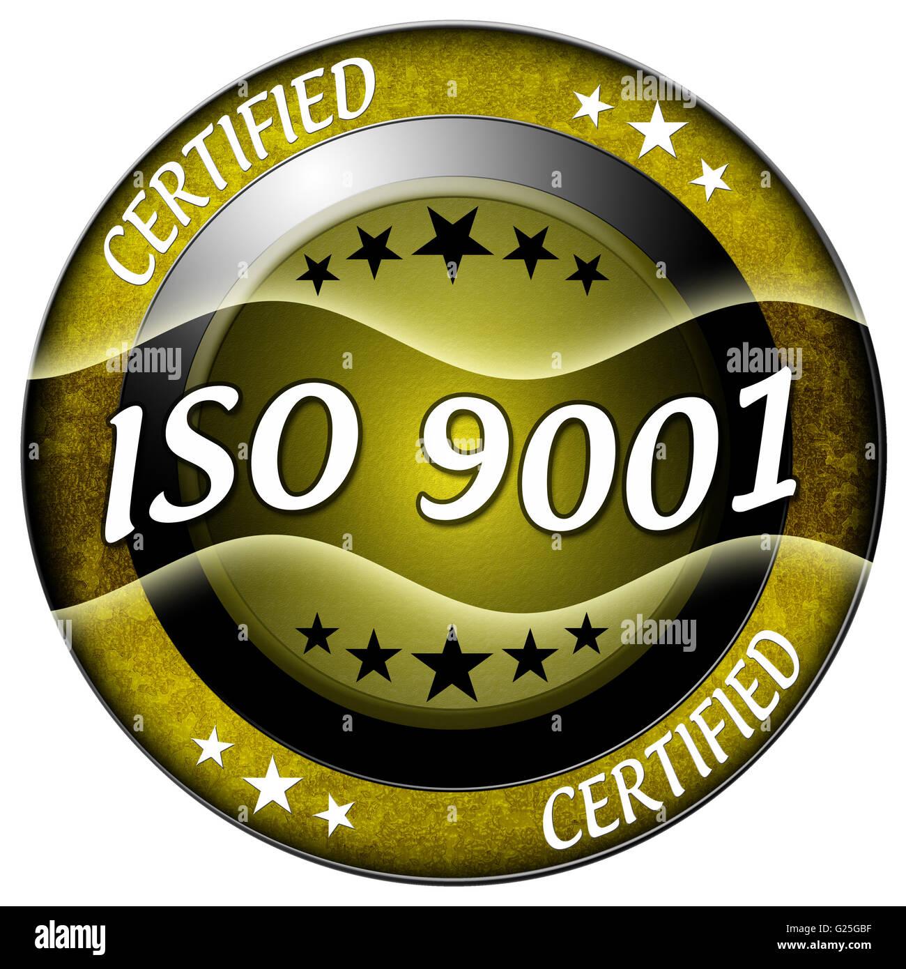 Iso 9001 round gold icon isolated - Stock Image