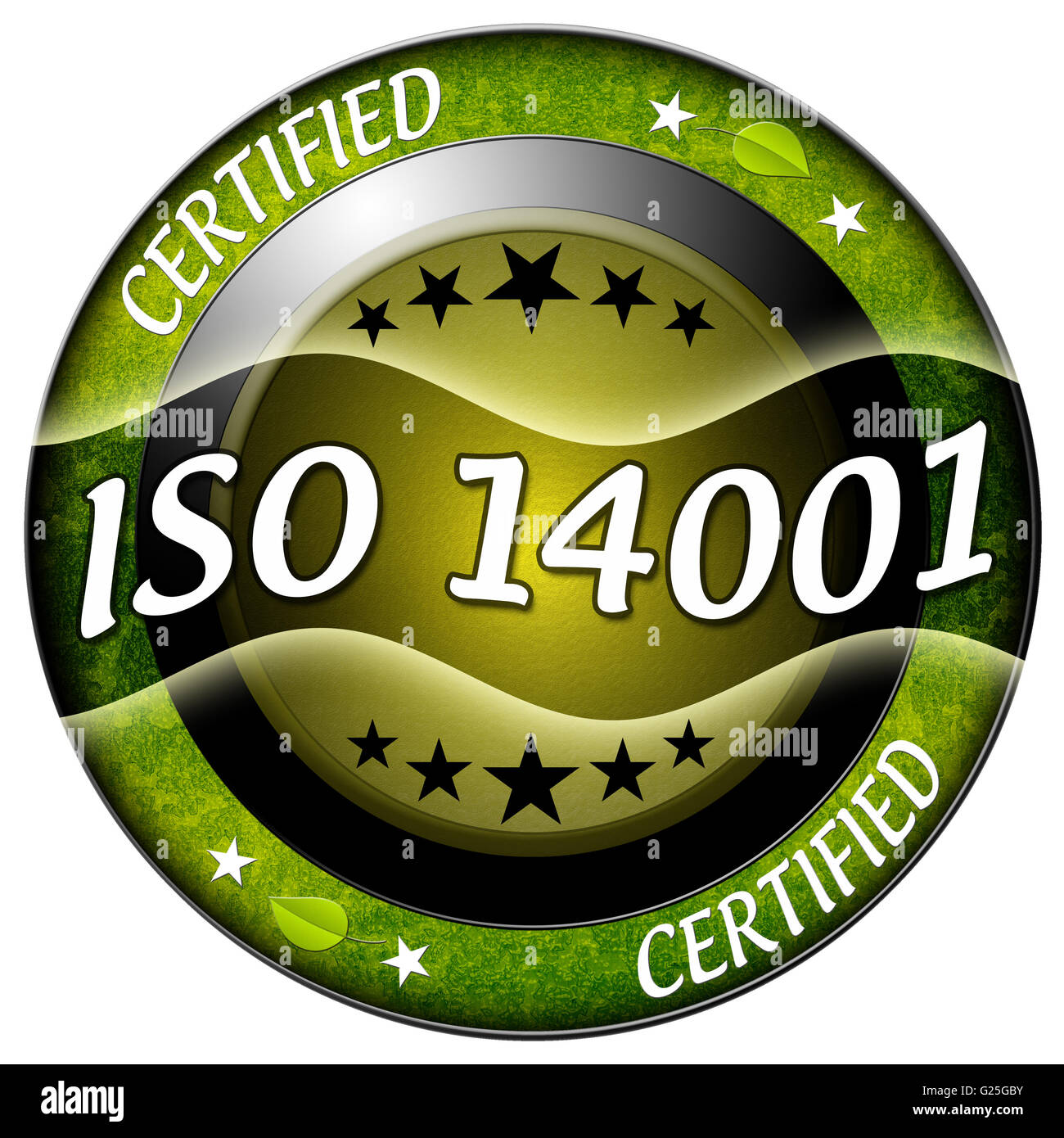 Iso 14001 round green icon isolated - Stock Image