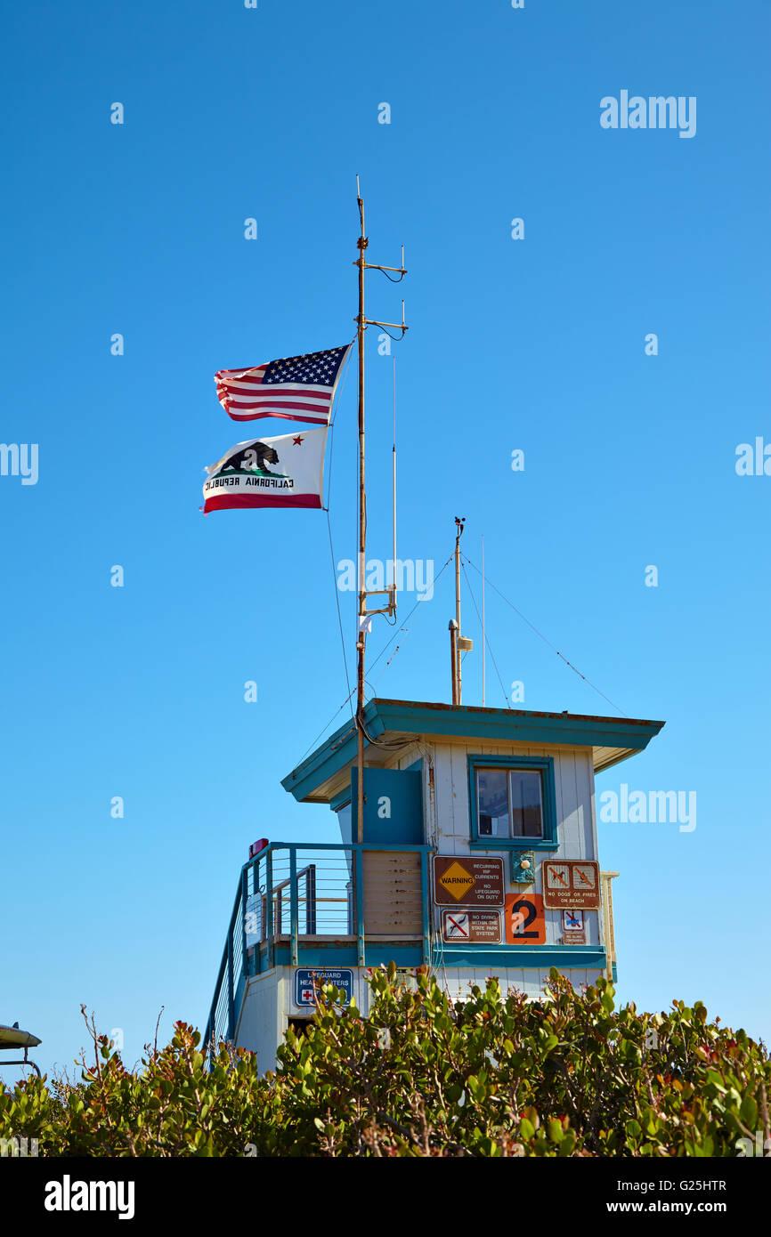 Lifeguard hut on the Malibu beach. Stock Photo