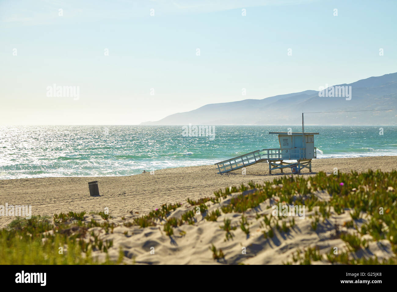 Lifeguard hut on the Malibu beach. Stock Photo