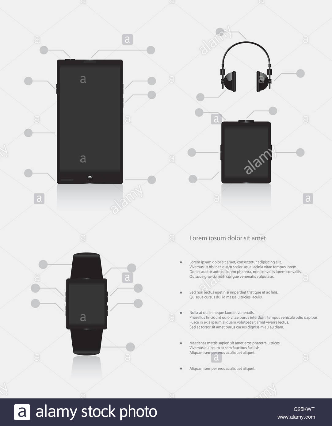 Set of gadgets electronic devices mobile phone smart watch music player - Stock Image