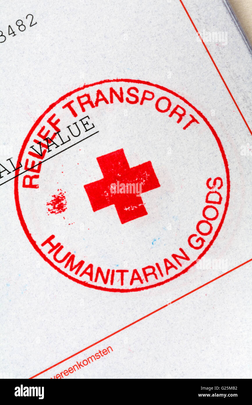 Relief Transport Humanitarian Goods stamp on charity documentation - Stock Image