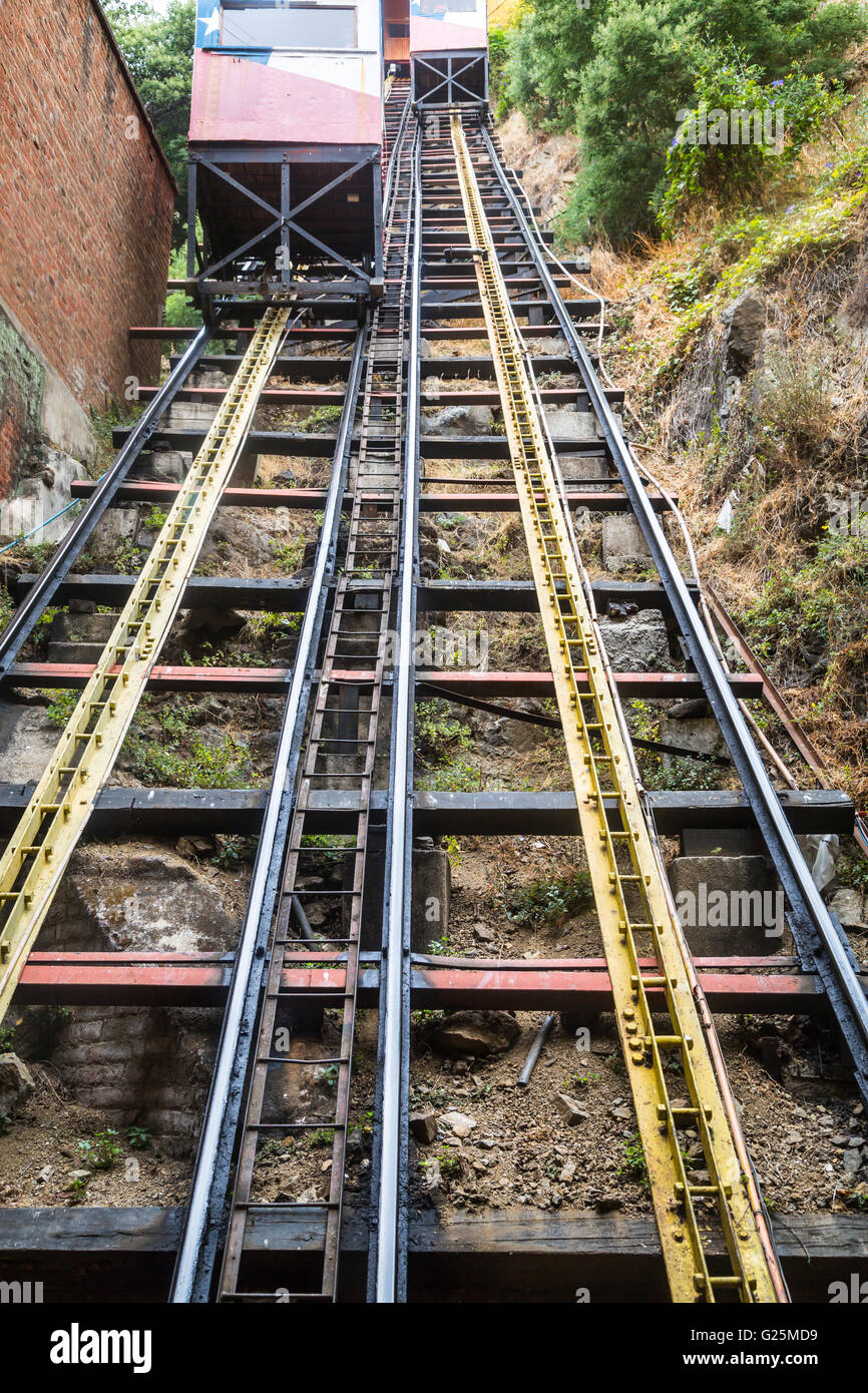 One of the funicular track in Valparaiso, Chile, South America. - Stock Image