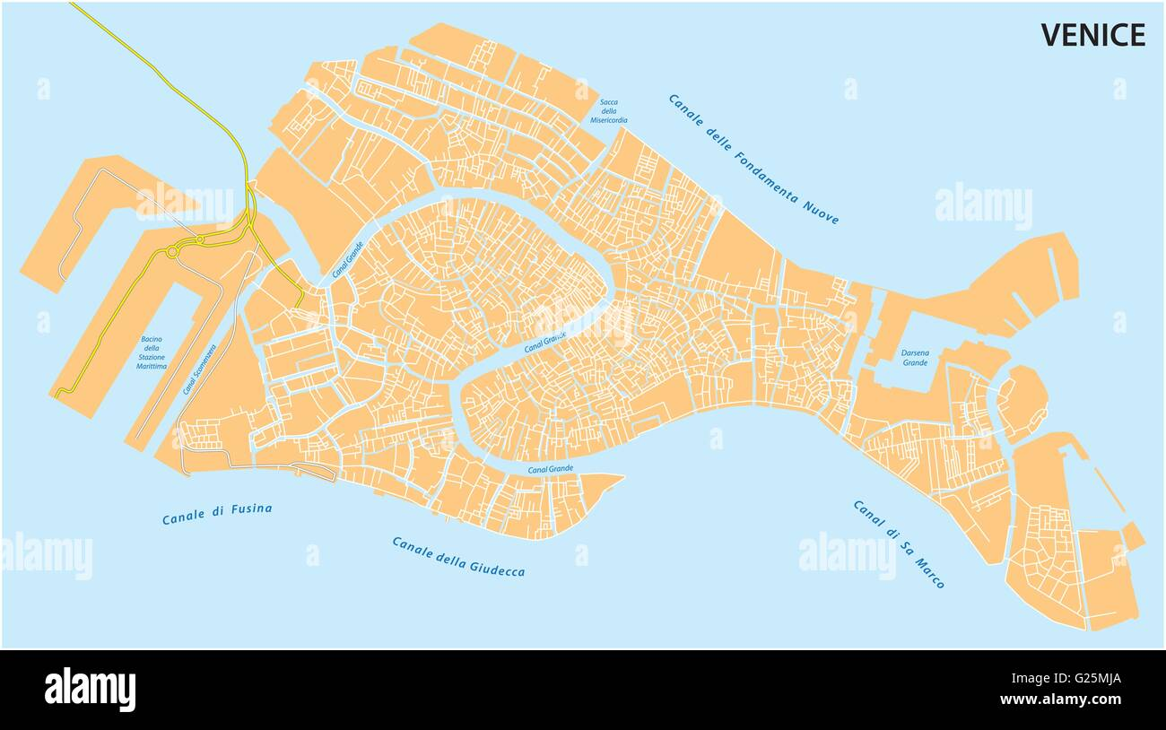 outline map of the Italian town of Venice - Stock Image