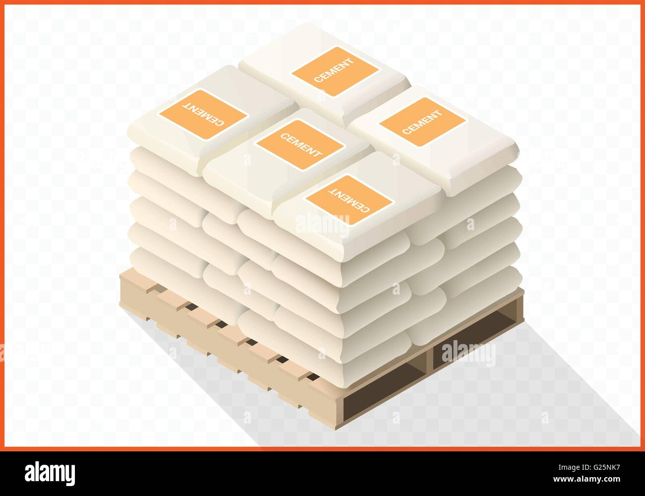 Cement sacks stacked isometric view - Stock Vector