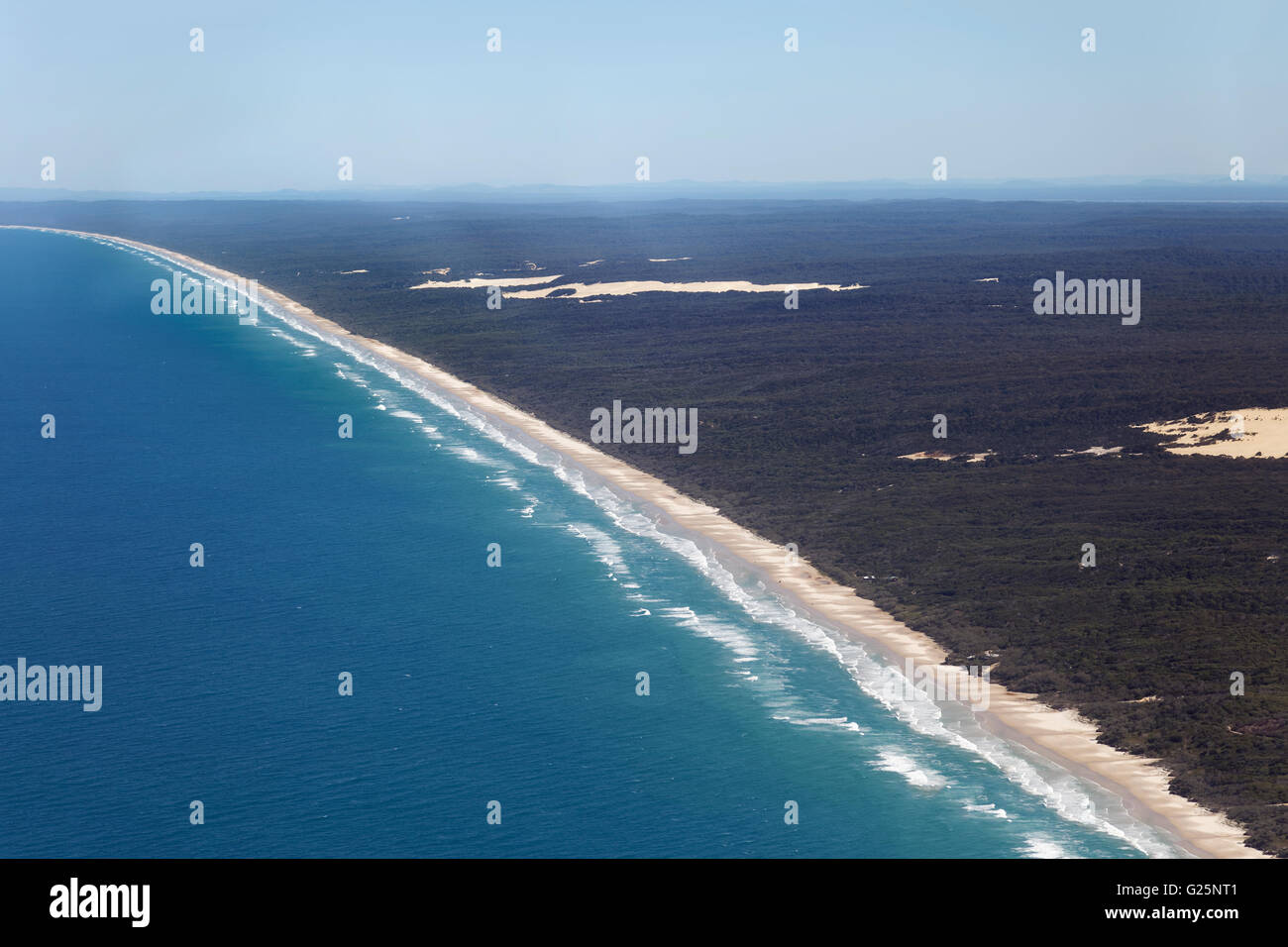 Aerial View, 75 Mile Beach Road, official Highway, UNESCO World Heritage Site, Fraser Island, Great Sandy National - Stock Image