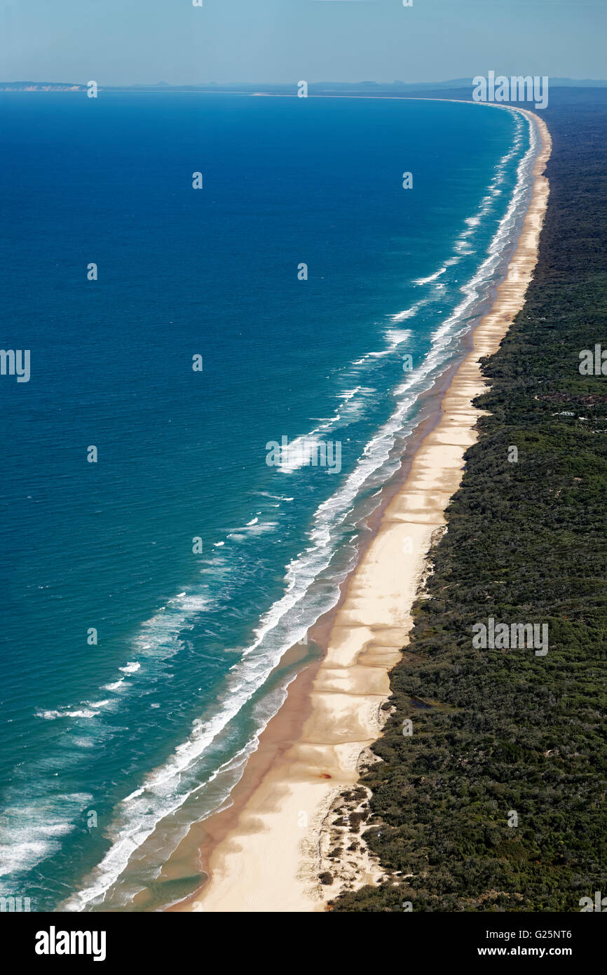 Aerial view 75 Mile Beach Road, official Highway, UNESCO World Heritage Site, Fraser Island, Great Sandy National - Stock Image
