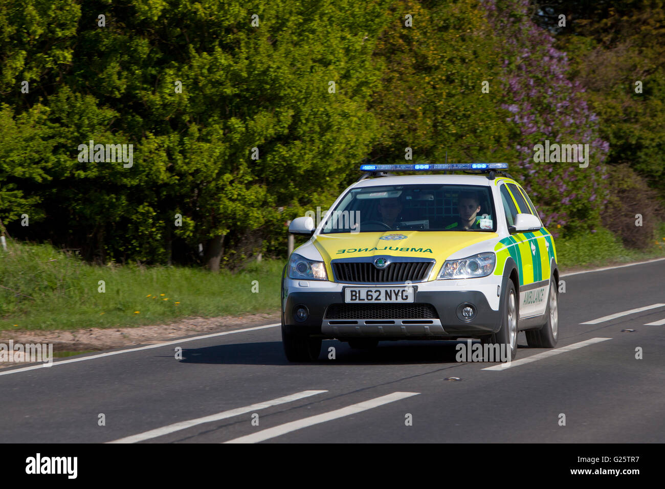Emergency paramedic vehicle responding to call on A149 road in Norfolk. - Stock Image