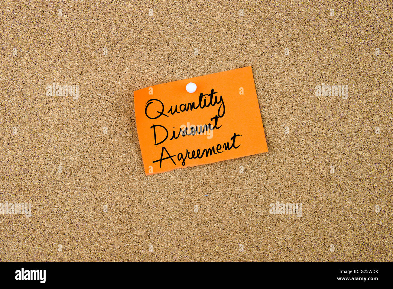 Quantity Discount Stock Photos Images Alamy Pure Baby Hand Mouth Wipes 60s Agreement Written On Orange Paper Note Pinned Cork Board With White Thumbtacks