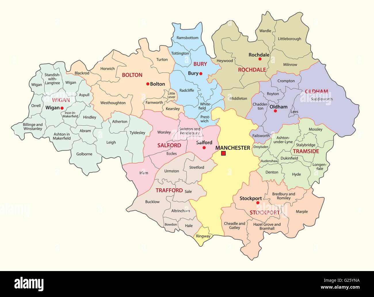 greater manchester administrative and district vector map Stock