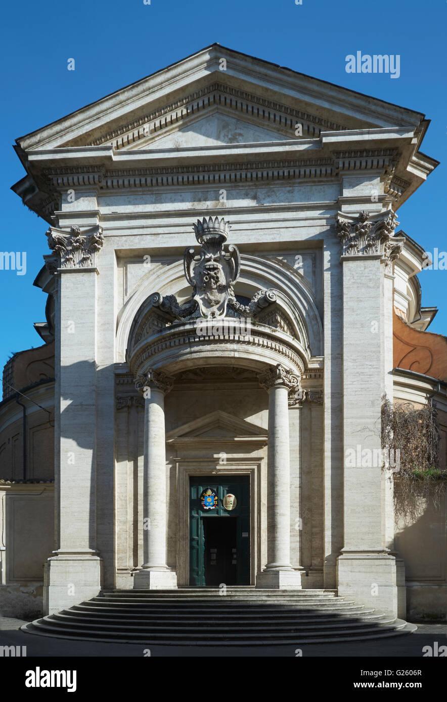 Sant' Andrea al Quirinale, facade with pediment above semicircular portico by Gianlorenzo Bernini, 1658-1670 - Stock Image