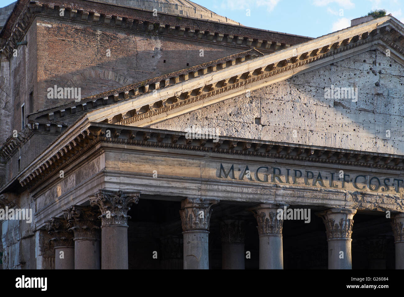 Rome Pantheon Pediment - Stock Image