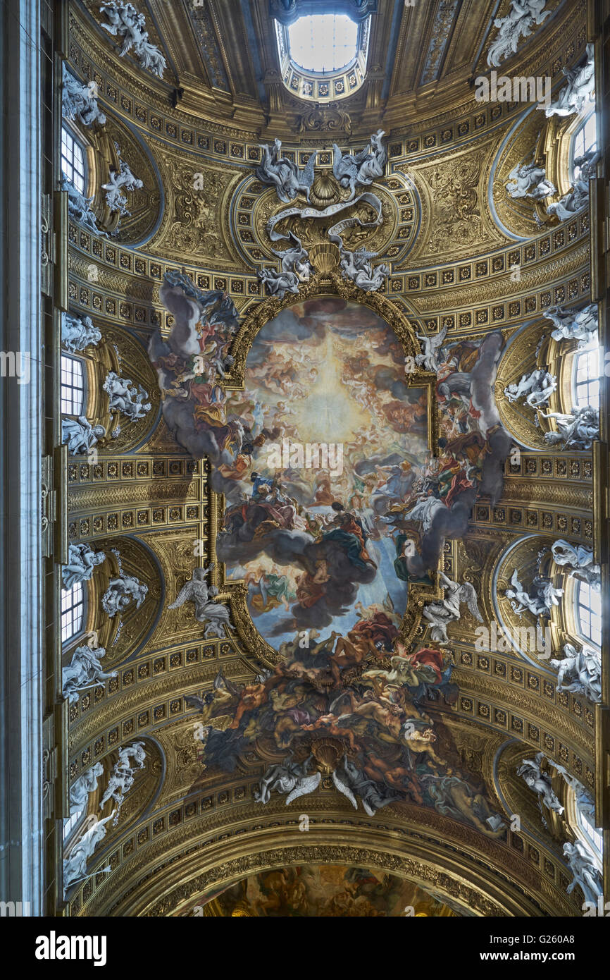 Ceiling of the Gesu, main Jesuit church in Rome. Trompe l\'oeil of ...