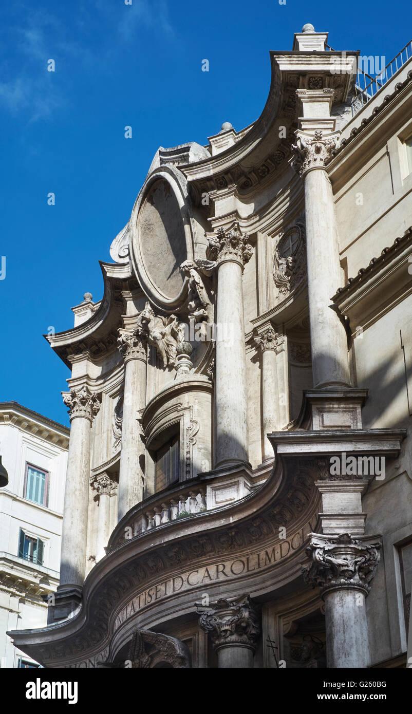 San Carlino, San Carlo alle Quattro Fontane (1638-41), Rome, Italy. By Borromini, upper storey of the curving facade - Stock Image