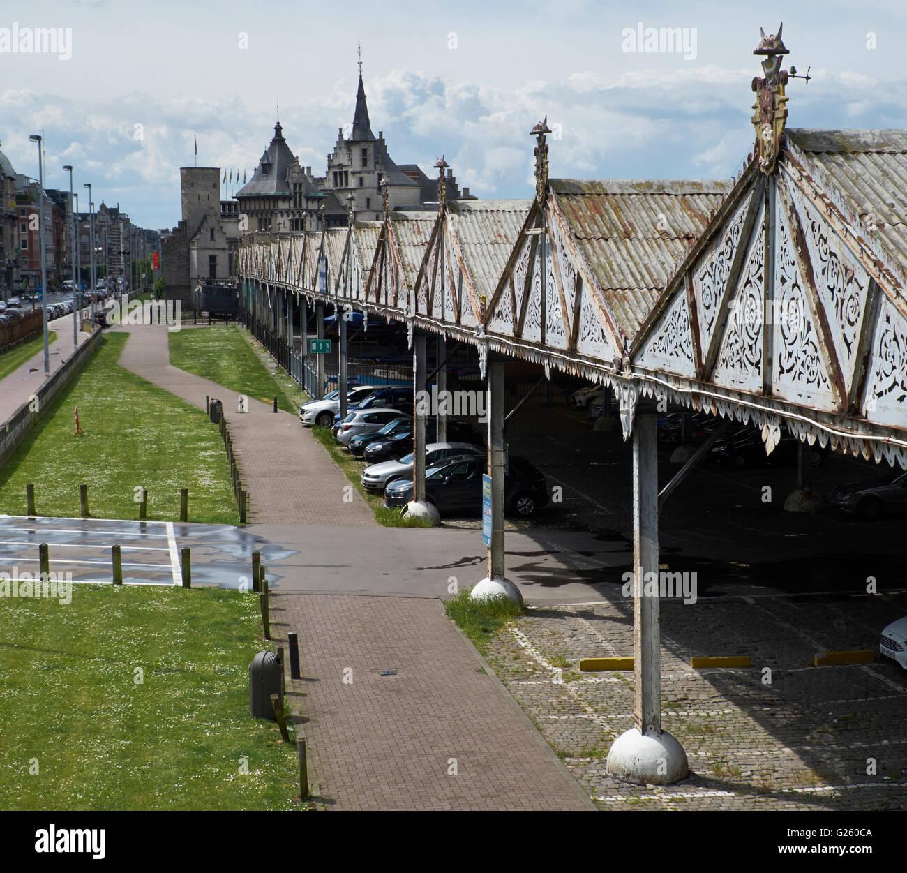 Hangars on the banks of the river Scheldt, Antwerp - Stock Image