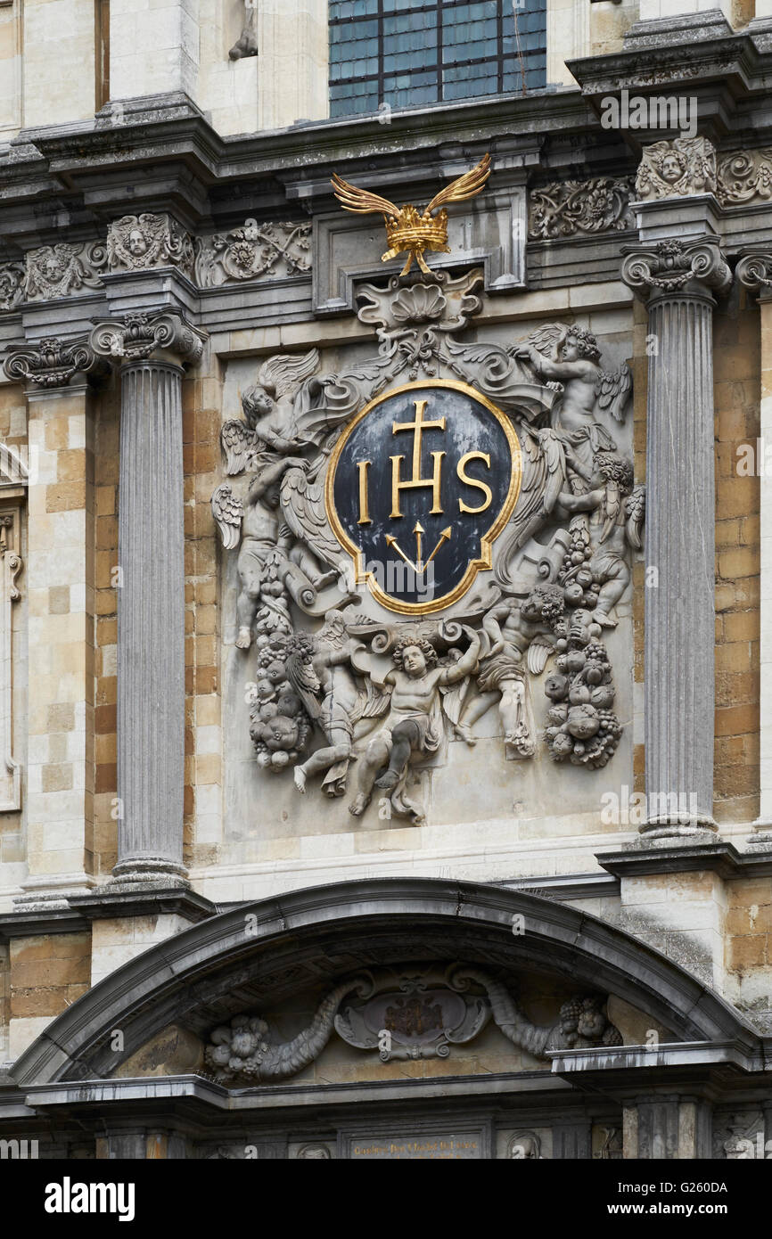 Jesuit shield, Antwerp church of San Charles Borromeo - Stock Image
