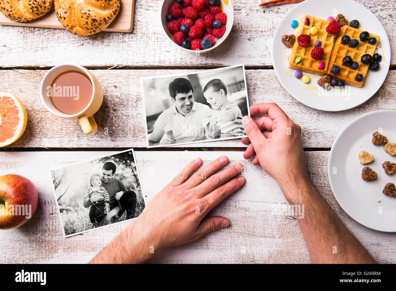 Fathers day composition. Black-and-white photos, breakfast meal Stock Photo