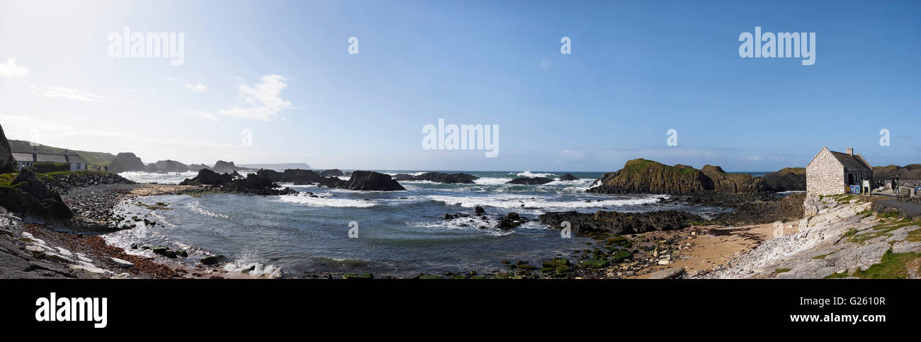 Balintoy on the Ulster Way and Causeway Coastal Route County Antrim Northern Ireland - Stock Image