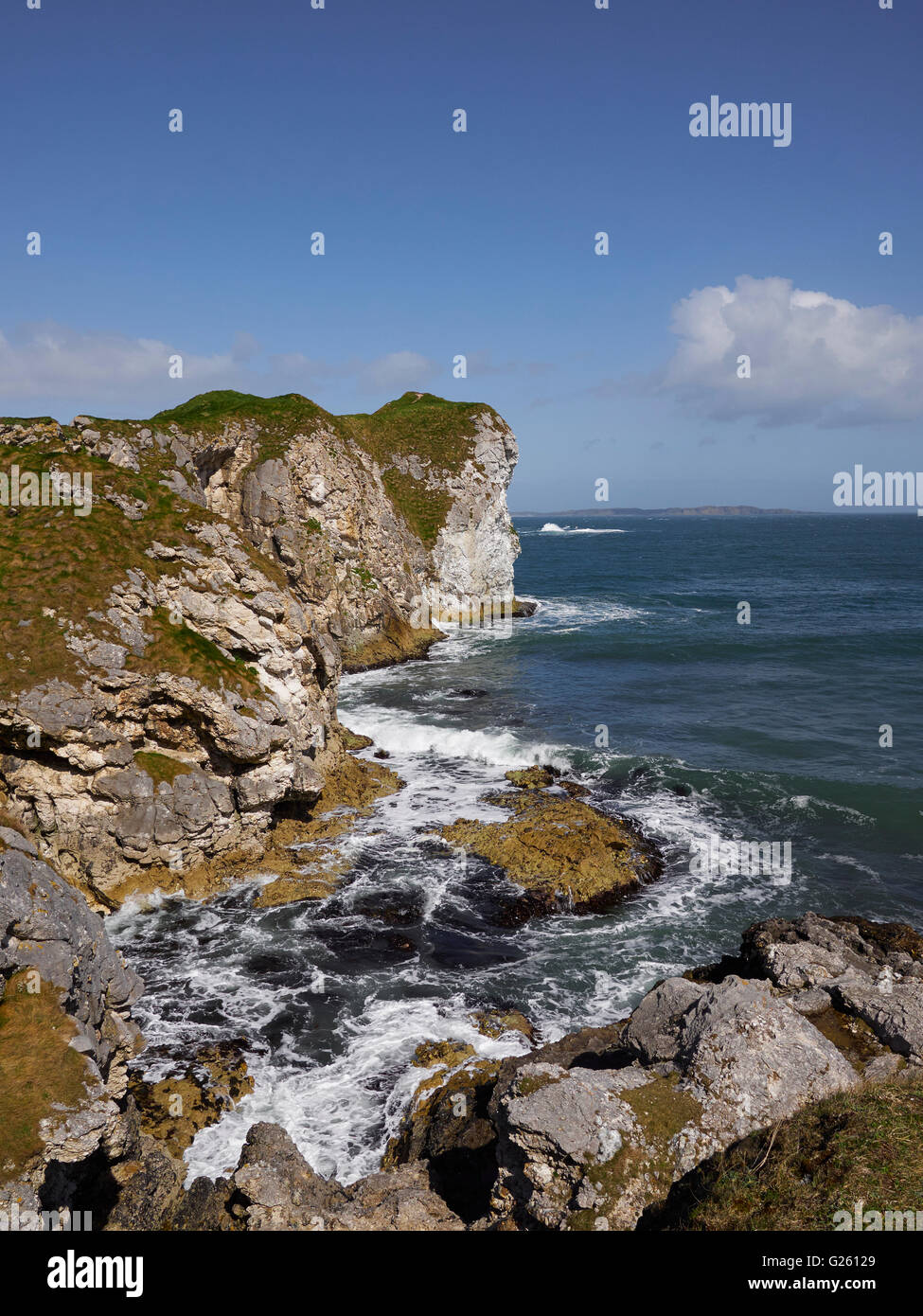 Kinbane Head on the Ulster Way and Causeway Coastal Route County Antrim Northern Ireland - Stock Image