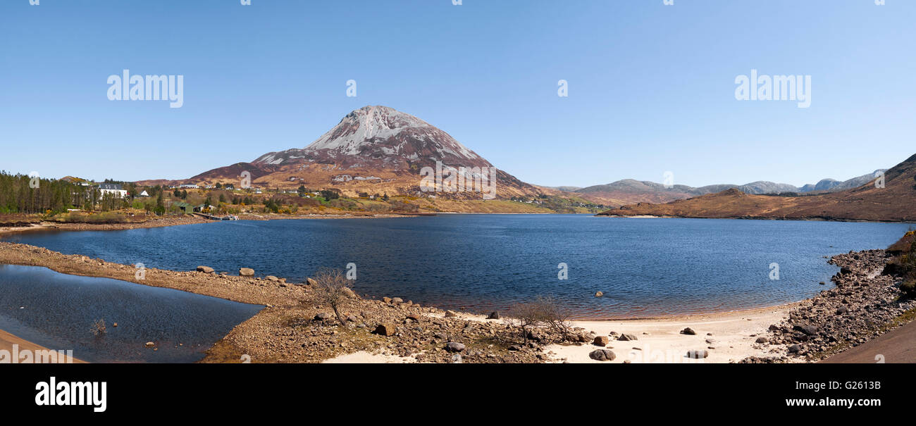 Mount Errigal and Dunlewy Lough in the Derryveagh mountain range Dunlewey County Donegal Ireland - Stock Image