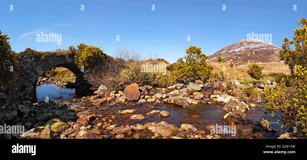 Poisoned Glen old bridge and Mount Errigal in the Derryveagh mountain range Dunlewy County Donegal Ireland - Stock Image