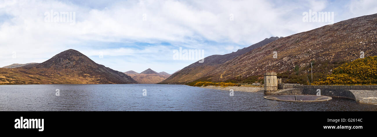 The Silent Valley reservoir in the Mourne Mountains County Down Northern Ireland run by Northern Ireland Water - Stock Image