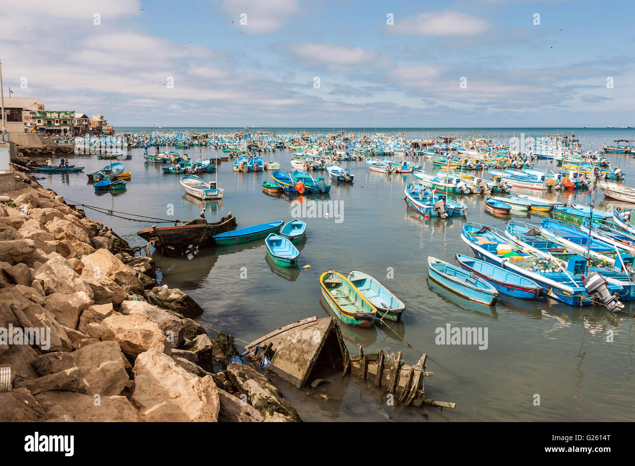 Salinas, Ecuador - September 17, 2011: Fishing boats crowded in the Bay of Santa Elena - Stock Image