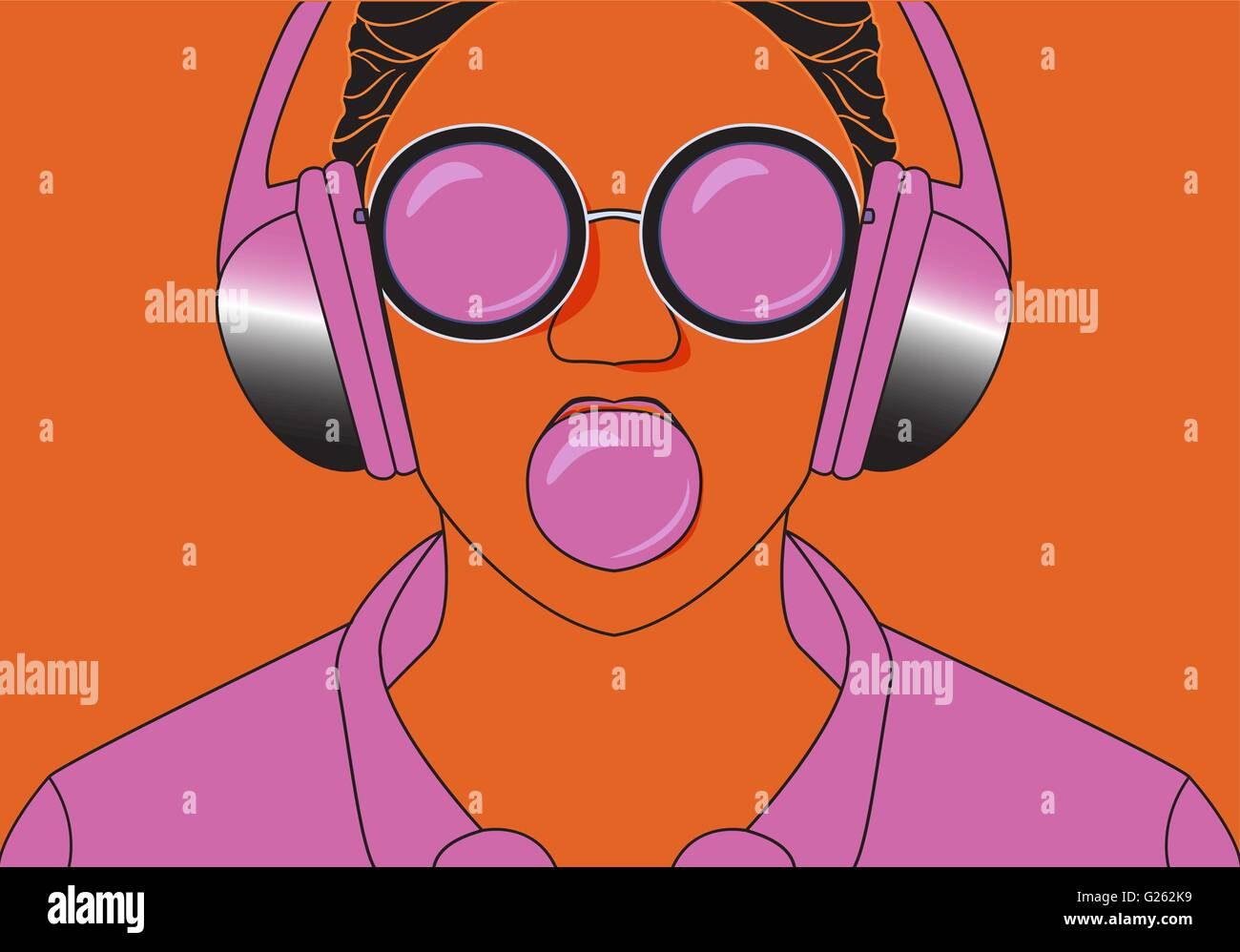 Young hipster girl listening to music on headphones in a summer park. Portrait close-up with chewing gum. pop art - Stock Vector