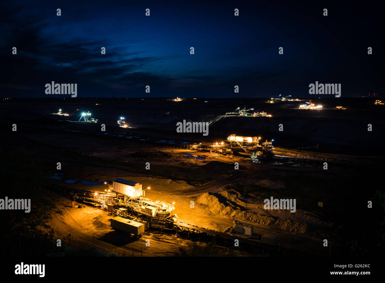 Open-cast coal mining in Germany in the evening - Stock Image