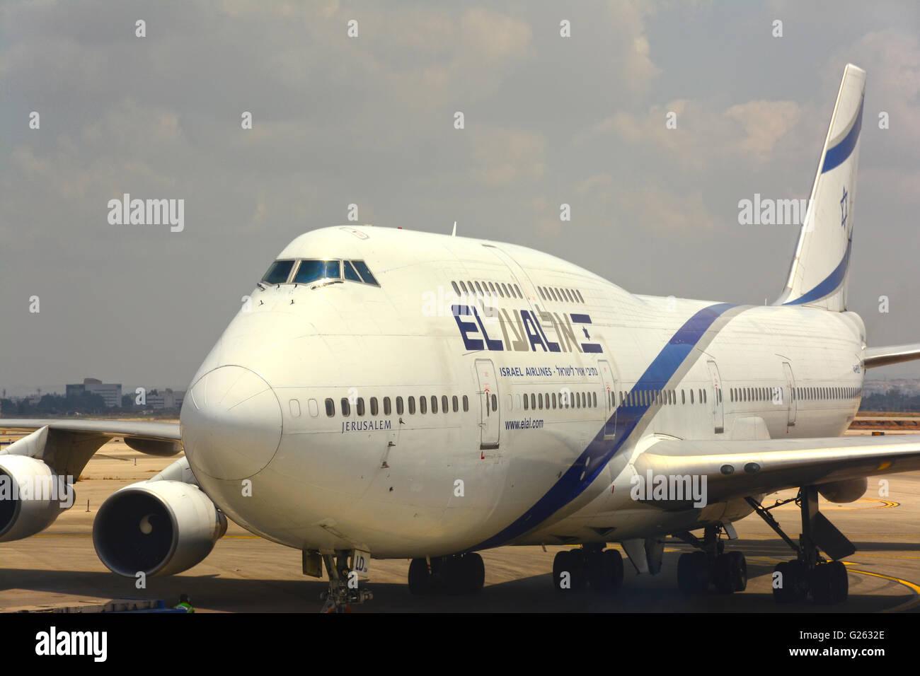 El Al , Israeli airlines, Jumbo jet - Stock Image