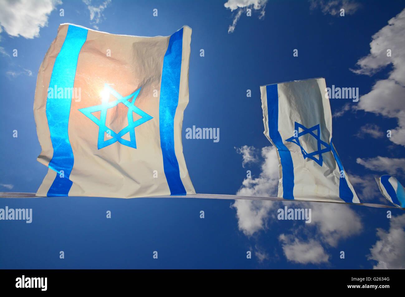 Israeli flags Chain - Stock Image