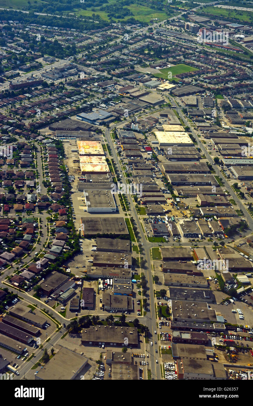 Aerial view on a residential area and industrial zone, Ontario, Canada - Stock Image