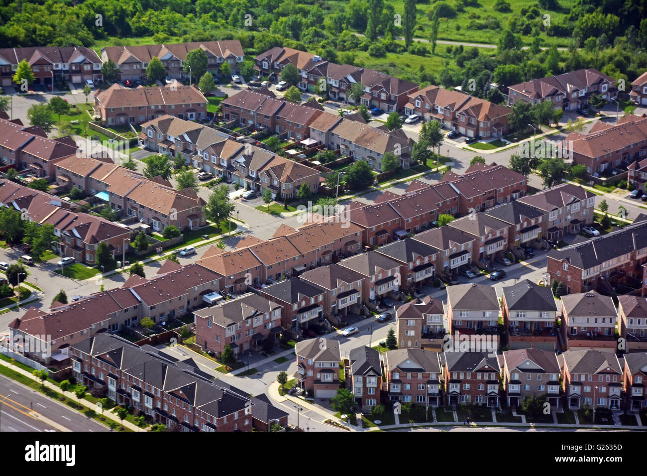 Residential area suburbs, Aerial view, Canada - Stock Image