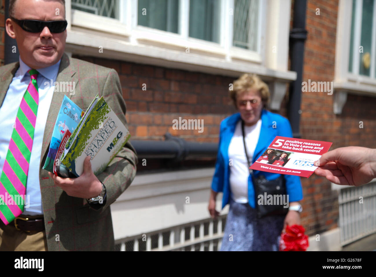 Sloane Square, London, UK 24 May 2016 - Vote Leave campaigners outside RHS Chelsea Flower Show Credit:  Dinendra Stock Photo