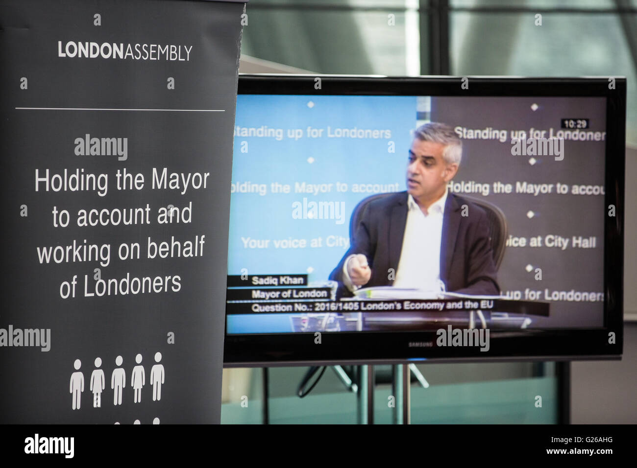 London, UK. 25th May, 2016. Sadiq Khan attends his first Mayor's Question Time at City Hall as Mayor of London. - Stock Image