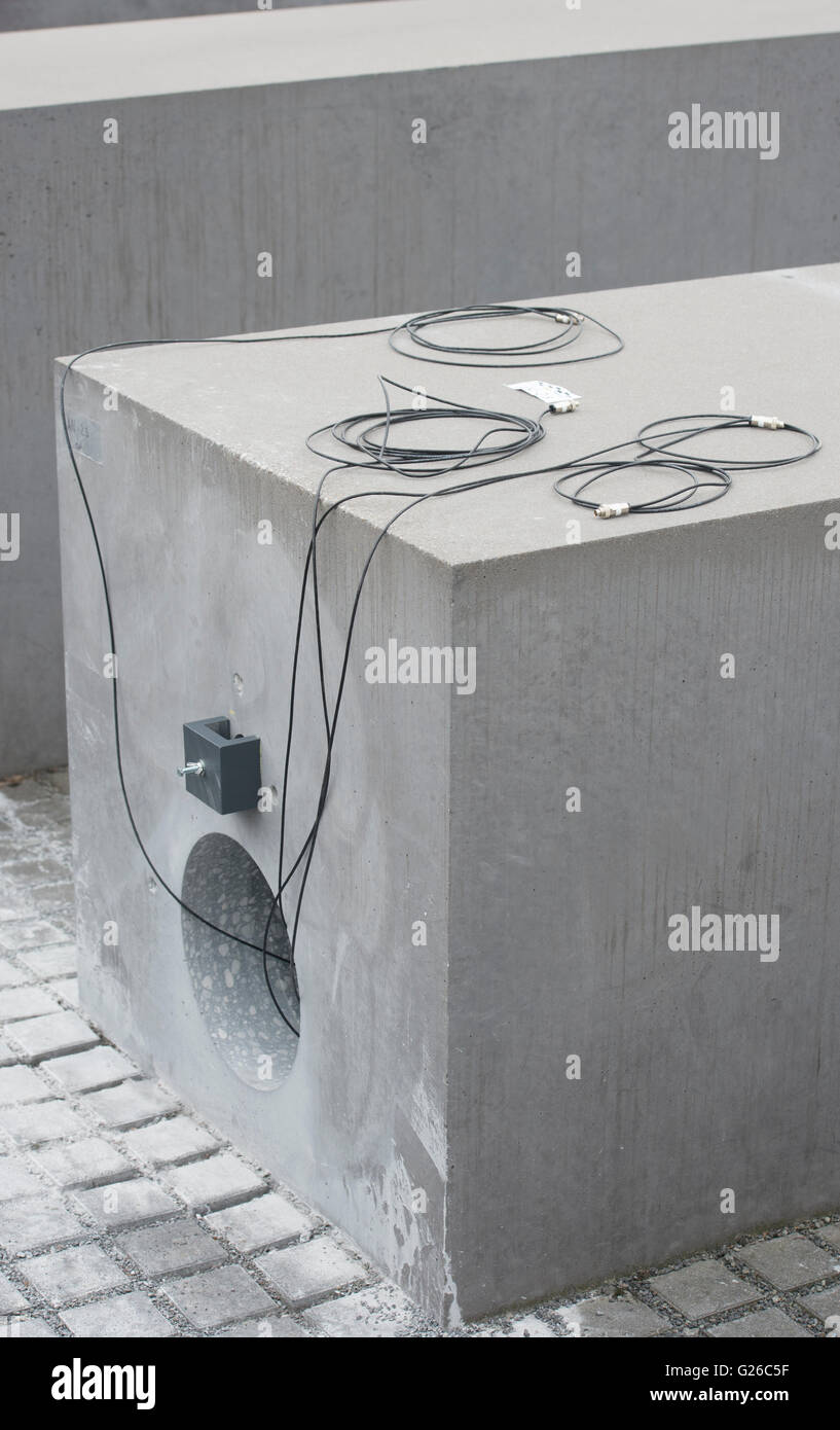 Berlin, Germany. 25th May, 2015. A hole can be seen in a stele of the Holocaust Memorial in Berlin, Germany, 25 Stock Photo