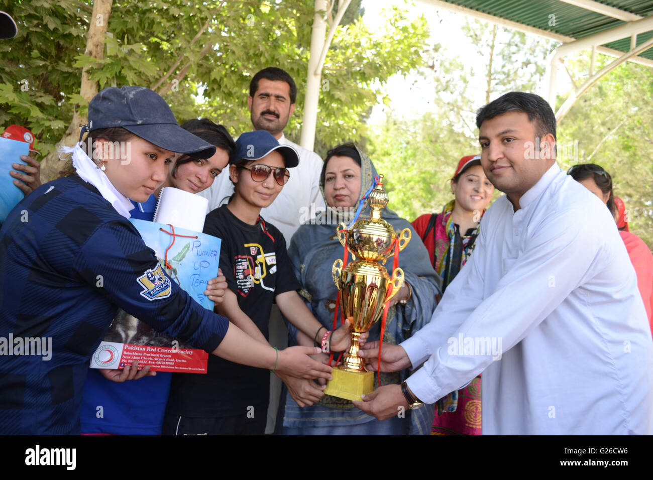 Quetta, Pakistan. 25th May, 2016. Asif Langau from Balochistan Sports Board  and principal Govt degree girls college - Stock Image