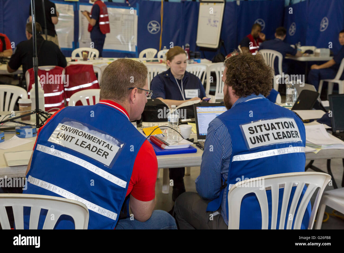 Marysville, Michigan USA. Officials from the U.S. Coast Guard and other agencies in the U.S. and Canada in a command - Stock Image