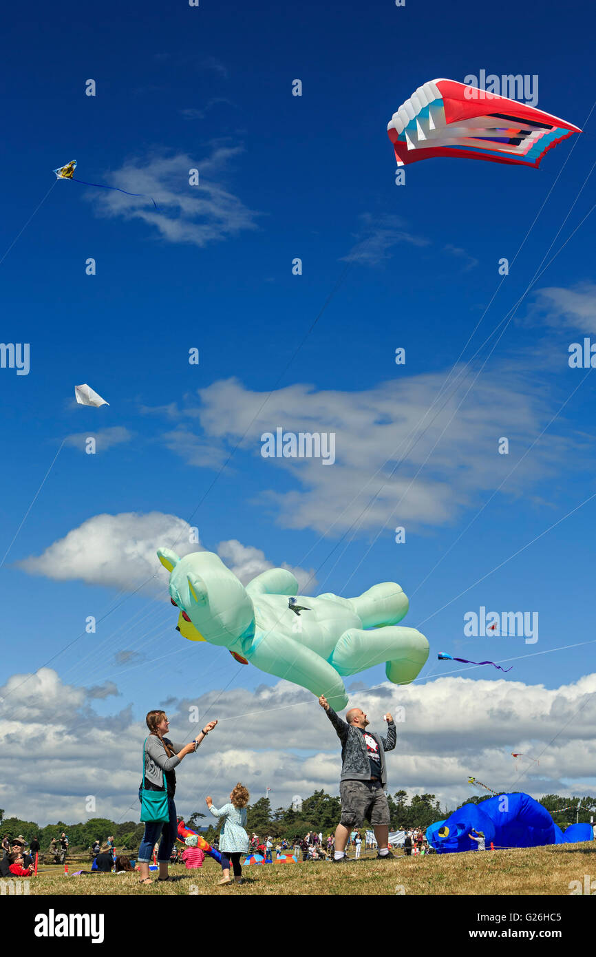 Family flying kites at Victoria Kite festival at Clover Point-Victoria, British Columbia, Canada. - Stock Image