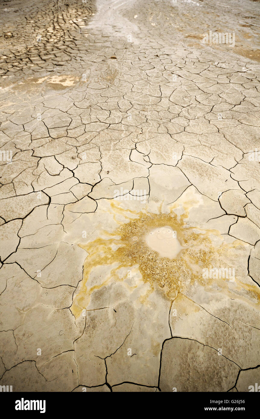 Detail of a cold mud volcano in the Natural Reserve Macalube of Aragona, Sicily, Italy Stock Photo