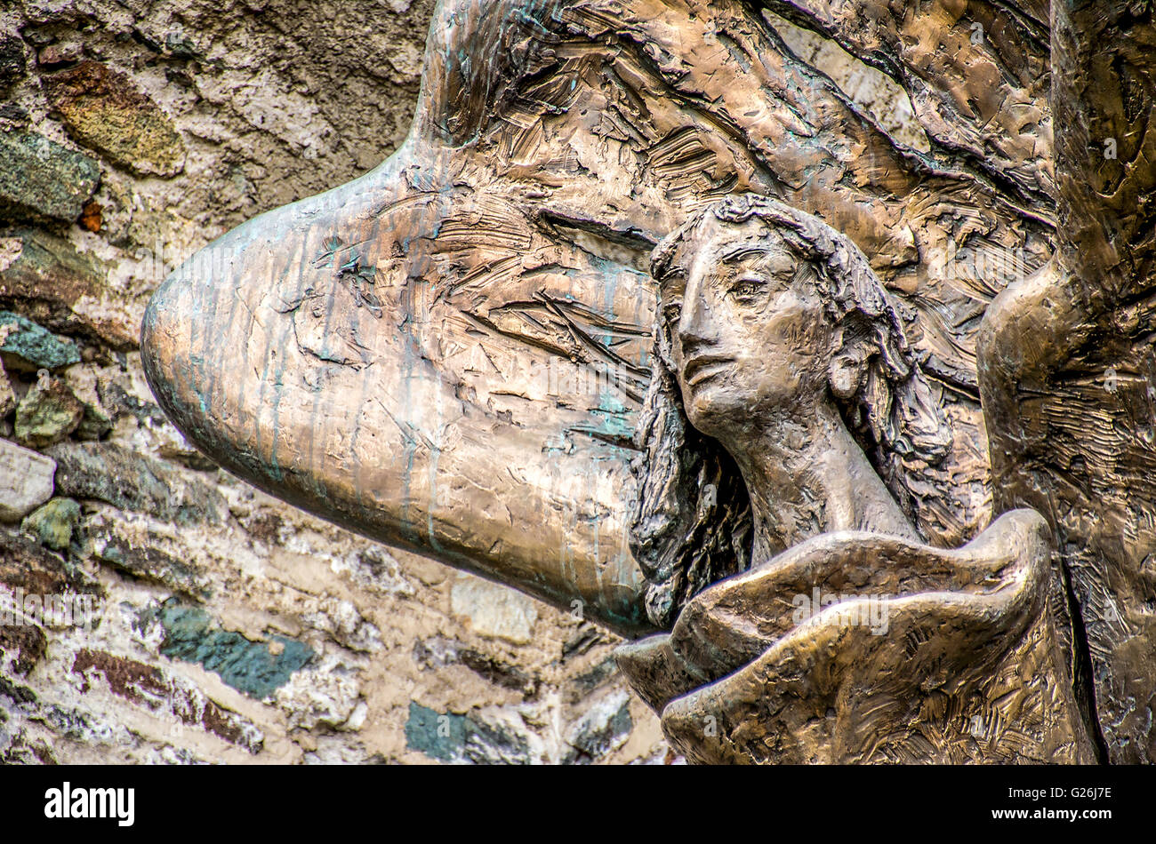 The statue of Saint Michael outside the walls of the Sacra of San Michele monastery - Stock Image