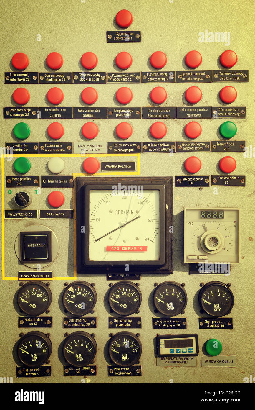 Old electrical metal control panel with plastic switches Stock Photo ...