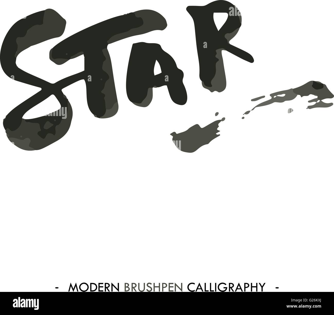 star word painted with brush in modern calligraphy style stock