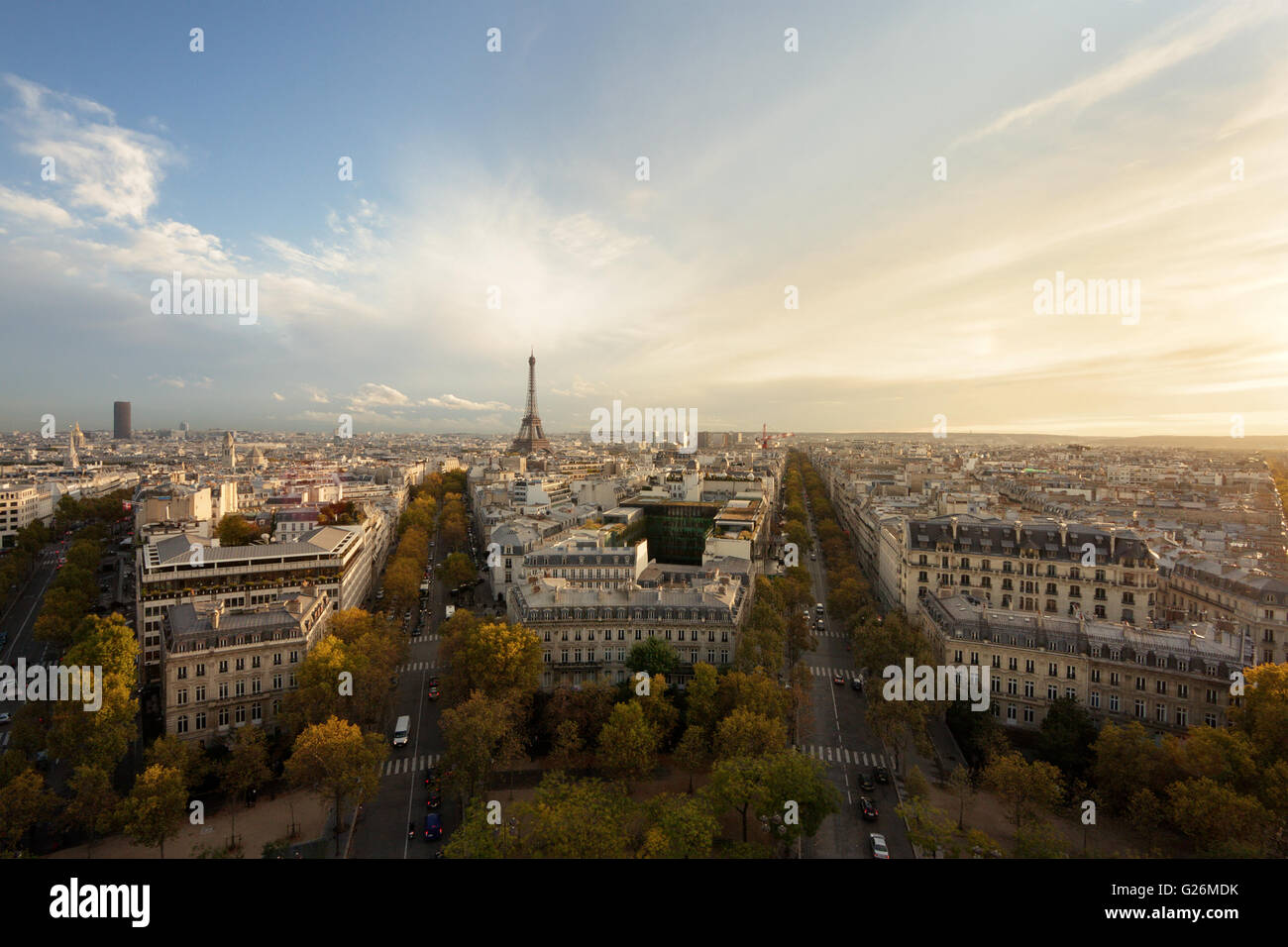 Aerial view of Paris and Eiffel Tower at sunset Stock Photo