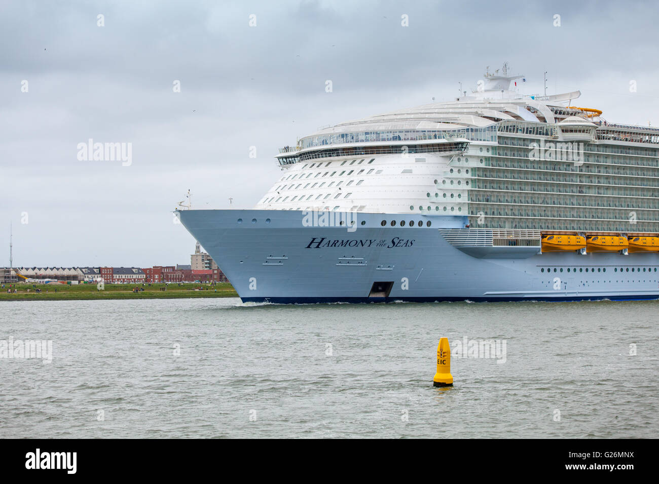 World's biggest cruise ship Harmony of the Seas leaves port of Stock