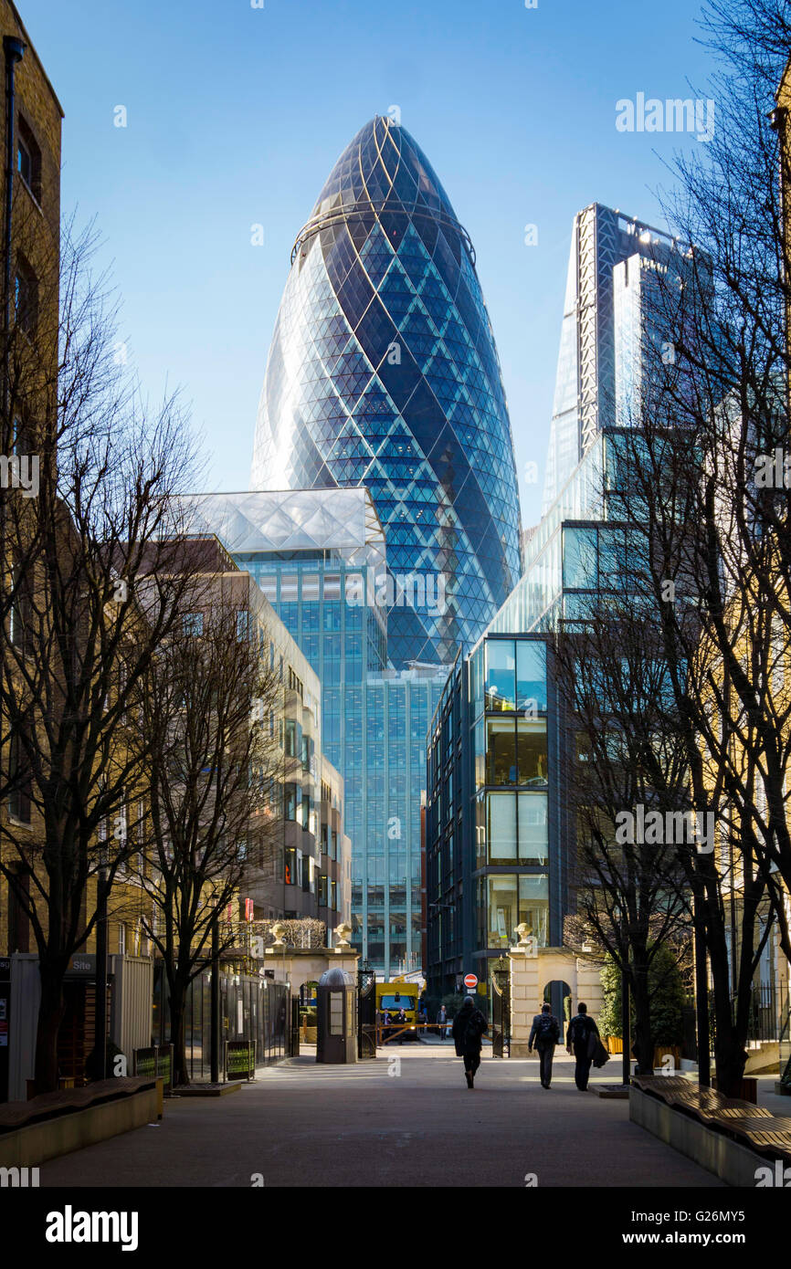 City view of the Gherkin in london from the street - Stock Image