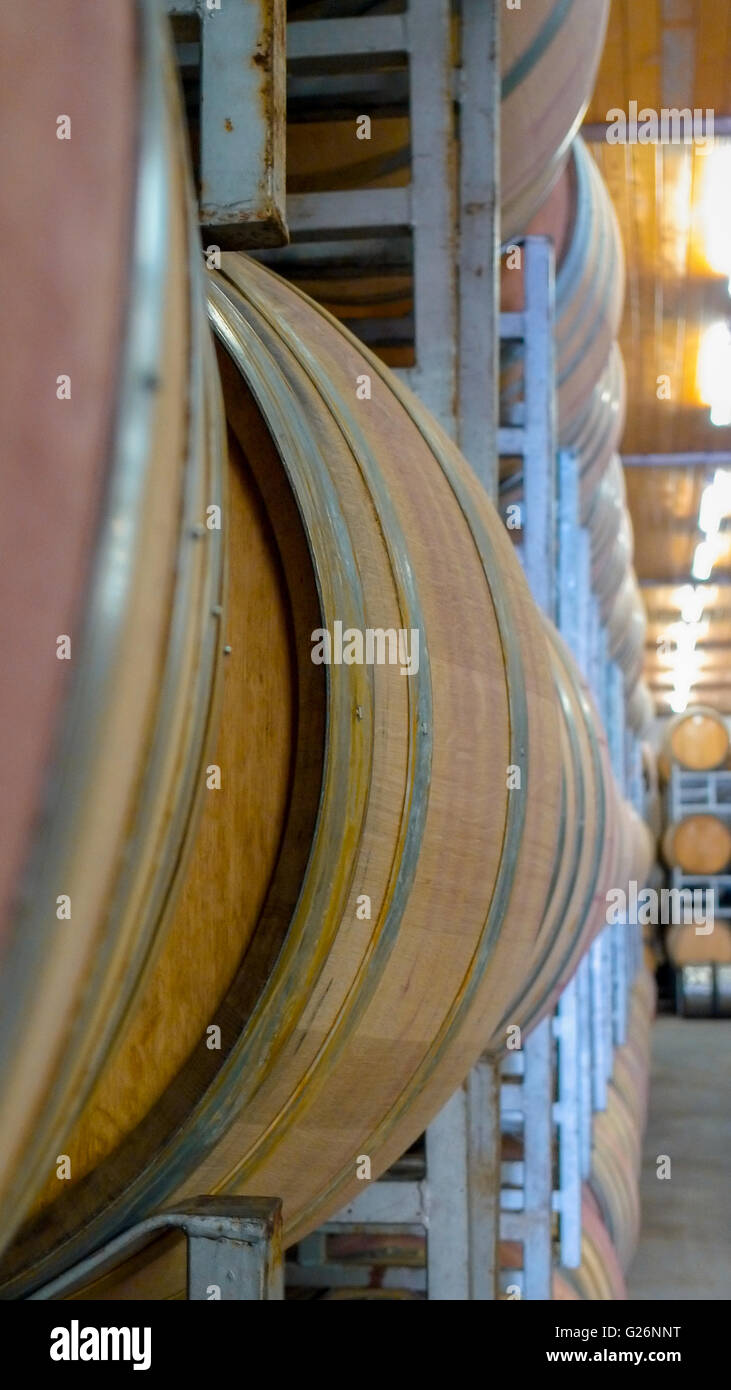 oak barrels stacked top. Oakwood Wine Barrels In Vineyard Cellar Stacked For Aging A Perspective View South Africa Oak Top