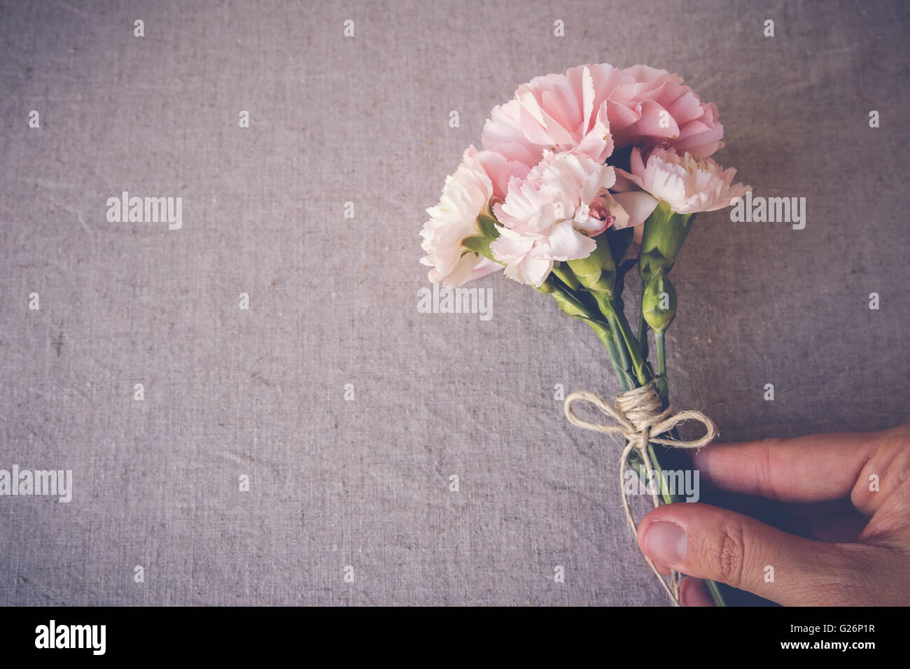 Flowers bouquet stock photos flowers bouquet stock images alamy hand holding pink carnation flowers bouquet copy space background stock image izmirmasajfo