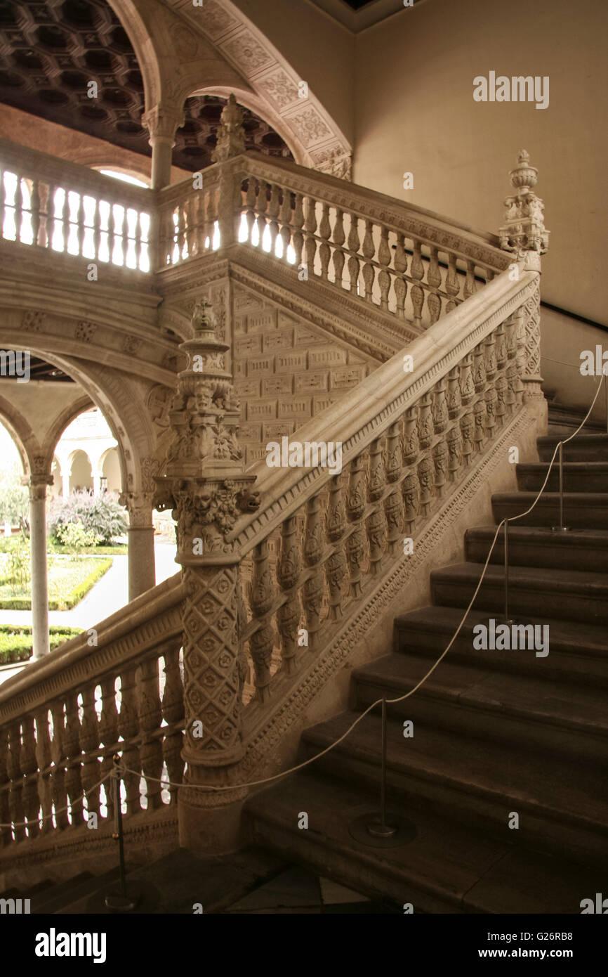 Toledo, Spain -   September 30, 2007: Gothic atrium of Monasterio San Juan de los Reyes or Monastery of Saint John - Stock Image